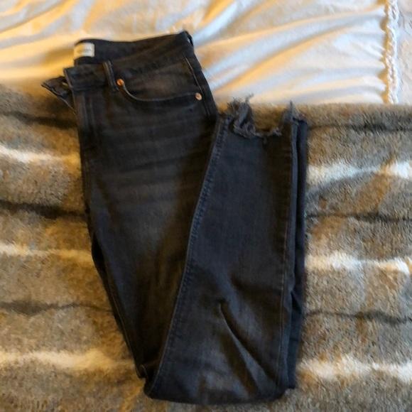 Zara distressed black washed skinny jeans
